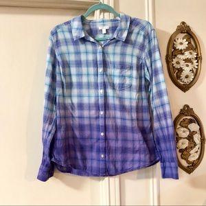 Caslon Ombre Plaid Button Down Shirt Purple Blue L